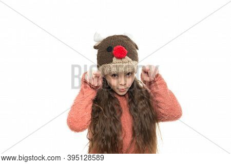 How To Wear It. Warm Clothes And Accessory For Kids. Happy Childhood. Small Girl In Knitted Hat And