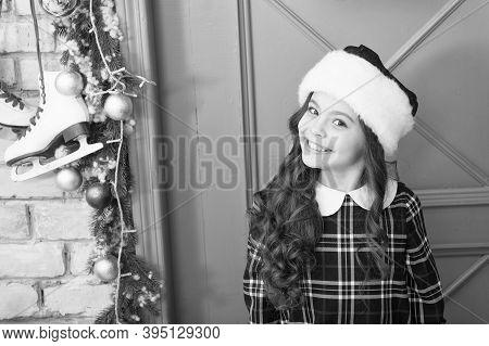 Fashion Girl Ready For Christmas Celebration. Little Fashionista. Small Girl Child Wear Dress. Fashi