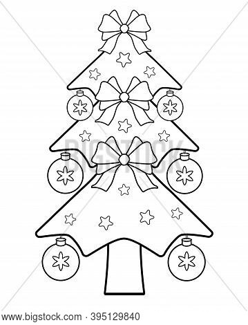Decorated Christmas Tree - Vector Linear Illustration For Coloring. Christmas Tree Decorated With Ba