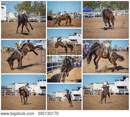 A Collage Of Ten Images Of A Cowboy Bareback Riding A Bucking Bronco At An Outback Rodeo