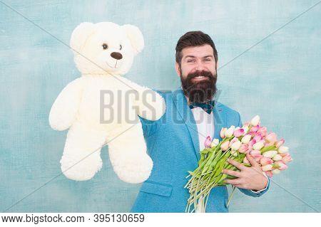 Surprise For Her. Gentleman Making Romantic Surprise For Her. Gentleman Romantic Gift. Birthday Gree