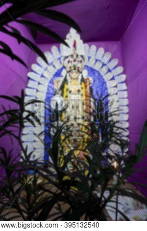 Blurred, Blur Of Defoussed Idol Of Goddess Saraswati At Kolkata, West Bengal, India. Saraswati Is Hi