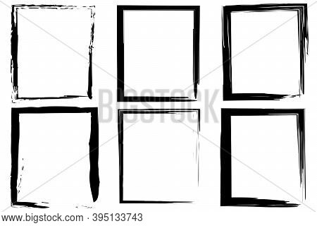 Black Rough Rectangles By Hand. Hand Drawn Illustration. Rough Rectangles By Hand, Great Design For