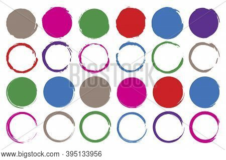 Multicolored Hand Circles Set In Abstract Style. Watercolor Abstract. Vector Brush Stroke. Seamless