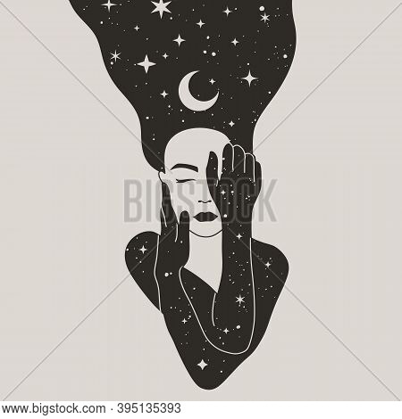 Mystical Woman With The Moon And The Stars In Hair In A Trendy Boho Style. Vector Space Portrait Of