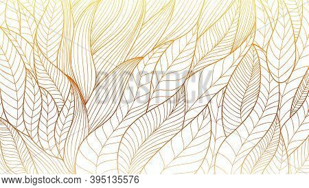 Hand Drawn Eco Ornament. Stylized Plant Leaves. Abstract Vector Line Art. Vintage Pattern From Wavy