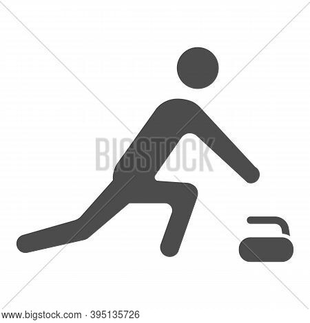 Curling Player Solid Icon, Winter Sport Concept, Curling Sport Game Sign On White Background, Curler