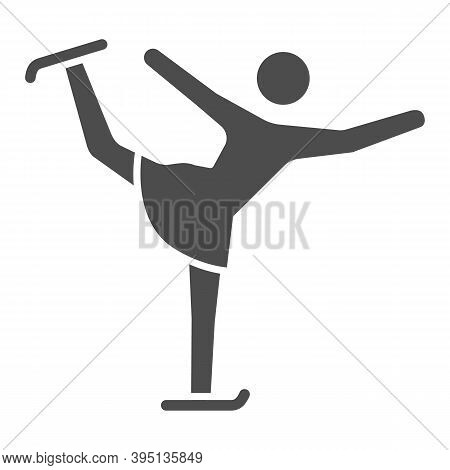 Figure Skater Performs Exercise Solid Icon, Winter Sport Concept, Figure Skating Symbol On White Bac