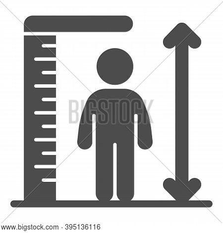 Ruler And Human Height Solid Icon, Aquapark Concept, Man Tall Scale Sign On White Background, Man An