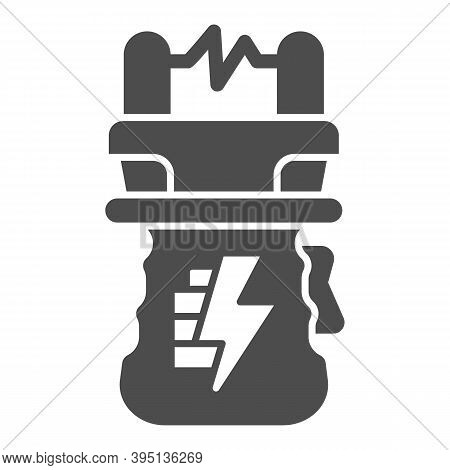 Stun Gun Solid Icon, Self Defense Concept, Electric Shock Sign On White Background, Weapon For Defen
