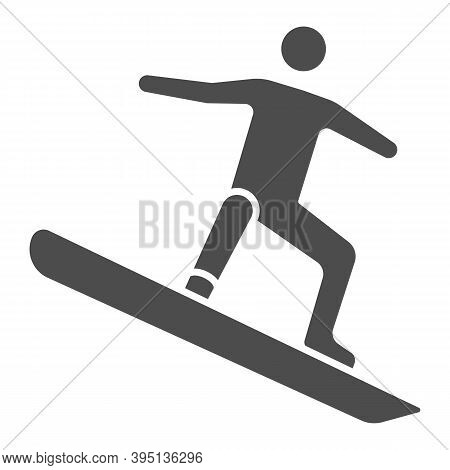 Freestyle Snowboarding Solid Icon, Winter Sport Concept, Snowboarder Jumping Sign On White Backgroun