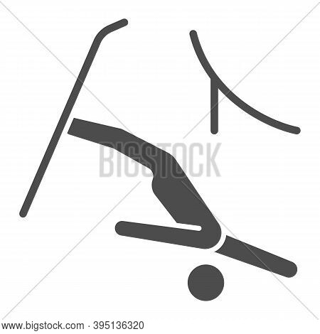 Jumping Freestyle Solid Icon, Winter Sport Concept, Freestyle Skiing Sign On White Background, Ski J