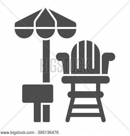 Lifeguard Chair And Beach Umbrella Solid Icon, Aquapark Concept, First Aid And Rescue On Beach Sign