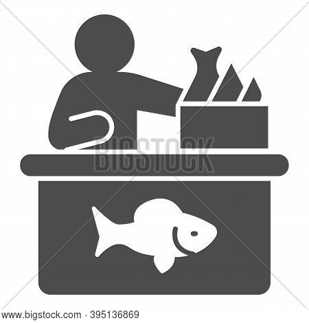 Seller In Fish Store Solid Icon, Fishing Concept, Fish Market With Seller And Seafood Sign On White