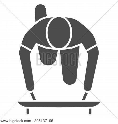 Skeleton Athlete Solid Icon, Winter Sport Concept, Skeleton Sportsman Sign On White Background, Skel