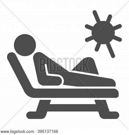 Beach Chair And A Man Relaxing In Sun Solid Icon, Aquapark Concept, Man Sunbathing Sign On White Bac