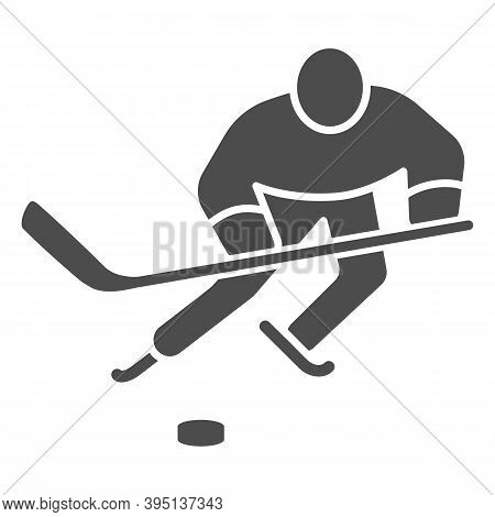 Hockey Player Solid Icon, Winter Sport Concept, Playing Hockey Sign On White Background, Ice Hockey