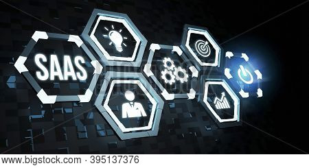 Internet, Business, Technology And Network Concept.software As A Service Saas. Software Concept. 3d