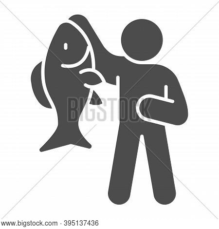 Fisherman With Big Fish Solid Icon, Fish Market Concept, Fishery Sign On White Background, Fisherman
