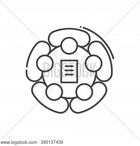 Teambuilding Icon, Linear Isolated Illustration, Thin Line Vector, Web Design Sign, Outline Concept