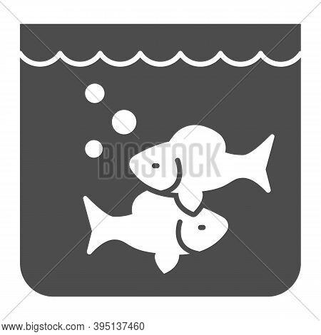 Aquarium With Fish Solid Icon, Fish Market Concept, Underwater Aquarium House Sign On White Backgrou