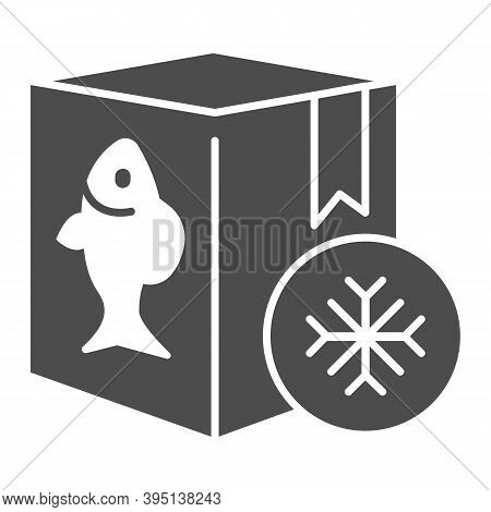 Frozen Fish In Box Solid Icon, Fishing Concept, Refrigerator Container For Seafood Sign On White Bac