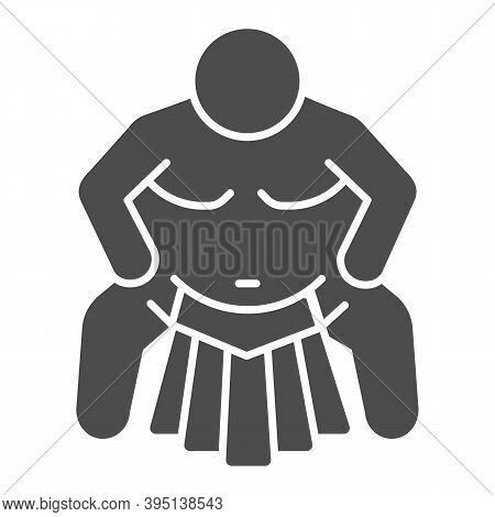 Sumo Sportsman Solid Icon, Self Defense Concept, Sumo Wrestling Sign On White Background, Martial Ar