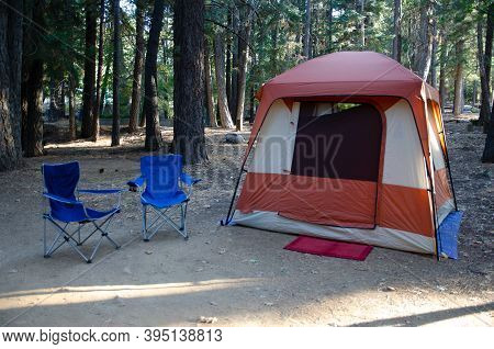 Gone Camping.  Vacation In 2020.  Peaceful, Serene Forest Setting With The Sun Streaming Through The