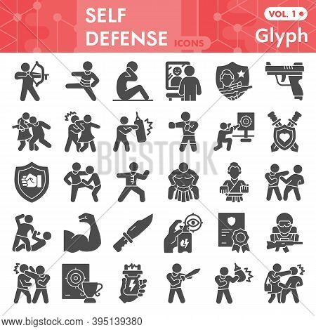 Self Defense Solid Icon Set, Defense Against Attacker Symbols Collection Or Sketches. Security With