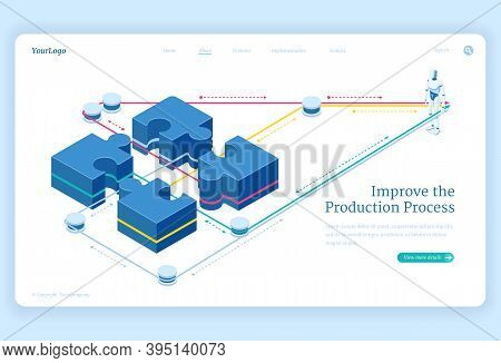 Production Process Improve Isometric Landing Page, Leverage Connect Puzzle Pieces And Artificial Int