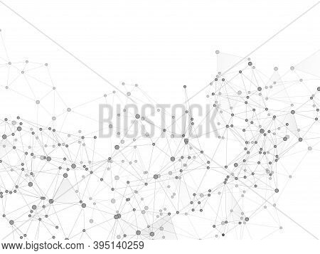 Block Chain Global Network Technology Concept. Network Nodes Greyscale Plexus Background. Informatio