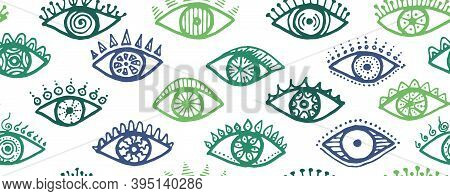 Hand Drawn Human Eyes Ethnic Repeatable Pattern. Pop Art Graphic Style Illustration. Fashion Packagi