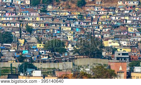 Mumbai, India - December 5, 2015 - Slum view from Vikhroli in Mumbai, 54% of Mumbai population lives in the slums.