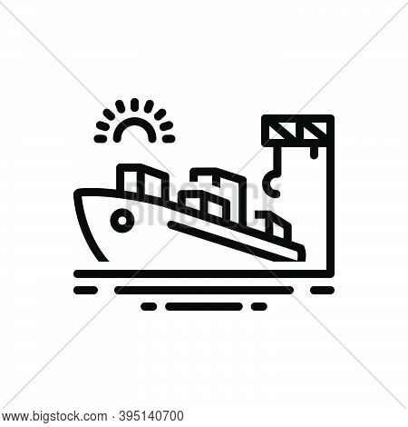 Black Line Icon For Port Seaport Harbor Wharf Dockyard Ship Cargo Maritime Terminal