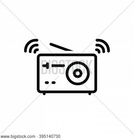 Black Line Icon For Sound Radio Vintage Music Frequency Electronic Reportage Noise Voice Melody Tone
