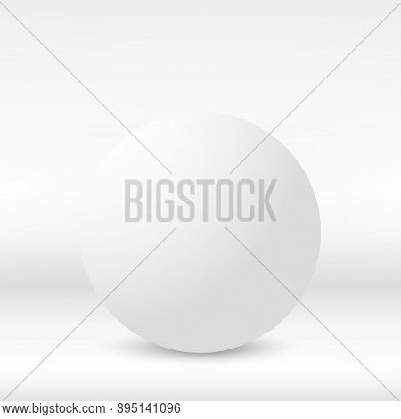 White Sphere. 3d Ball Over The Wall. Vector.