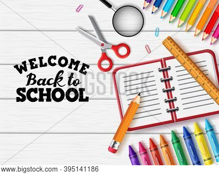 Back To School Vector Banner Background. Welcome Back To School Text With Education Supplies Like No