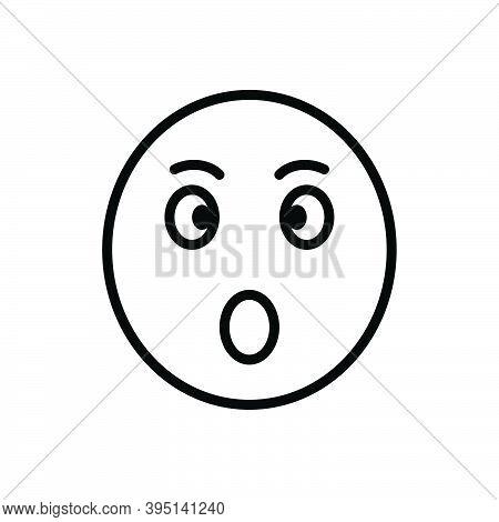Black Line Icon For Surprised Astonished Bewildered Dazed Shocked Startled Stunned Amazed Open-mouth