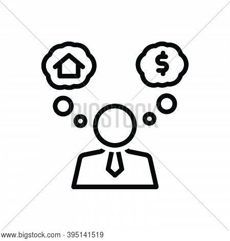 Black Line Icon For Assume Suppose Consider Guess Think Imagine Fancy Dream-up Brainstorm Envisage E
