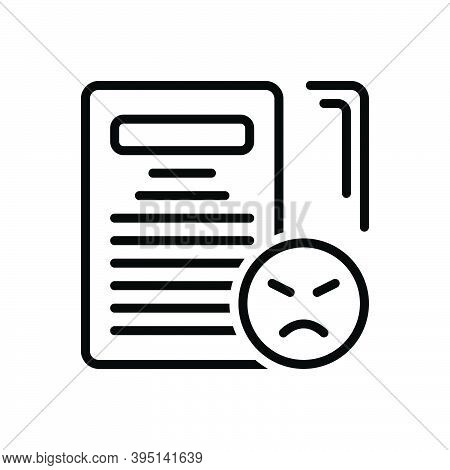 Black Line Icon For Complaint Grievance Jeremiad Accusation Checklist Document Feedbacks