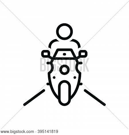 Black Line Icon For Ride Transport Bike Motorcycle Adventure Motorbike Road Drive Excursion Jaunt