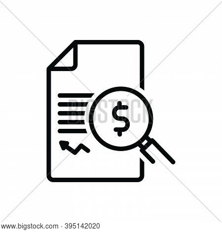 Black Line Icon For Fundamental Basic Document Magnifier Review Paper Research Verification