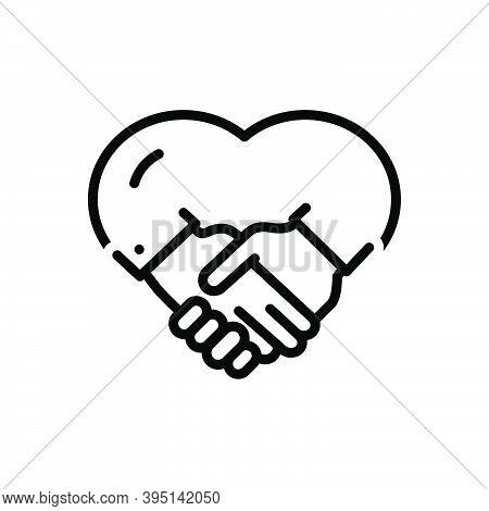 Black Line Icon For Mutual Fraternal Cognate Internecine Reciprocal Bilateral Handshake Together Bus