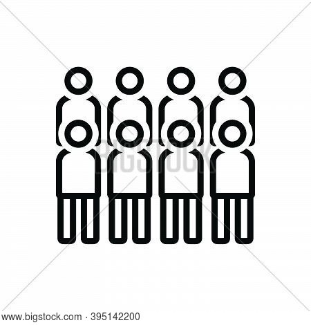 Black Line Icon For Rush Crowd Mob Multitude Horde Sequence Group People