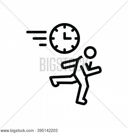Black Line Icon For Rush Haste Babel Stampede Run Hurry-scurry Hasten Timeout Quick Urgent