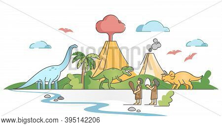 Dinosaurs Landscape Scene With Jurassic Humans And Animals Outline Concept. Paleo Time And Prehistor