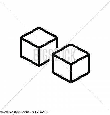 Black Line Icon For Such Like Similar Duplicate Specious Dice Cube Cuboid Peice