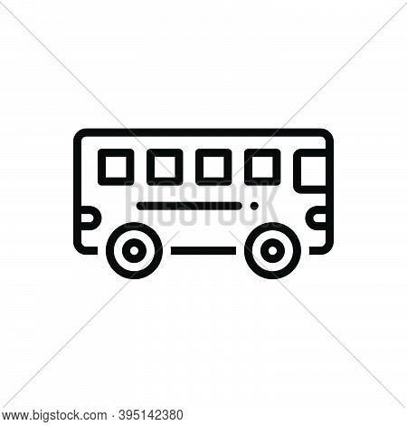 Black Line Icon For Bus Transport Commercial Passenger Public Station Carriage Transit Conveyance Tr