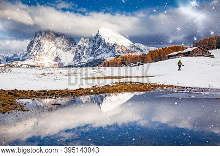 snowy early winter landscape in Alpe di Siusi. Dolomites  Italy - winter holidays destination