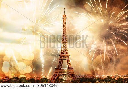 new year in Paris fireworks around Eiffel tower